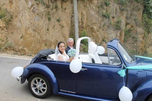 Autoschmuck Hochzeit - dunkelblaue Schattierung