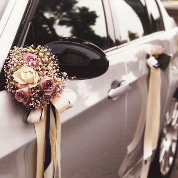 Autoschmuck Hochzeit gold