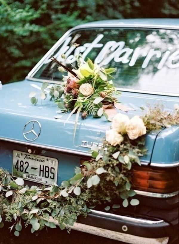 Autoschmuck Hochzeit - hellblau und vintage