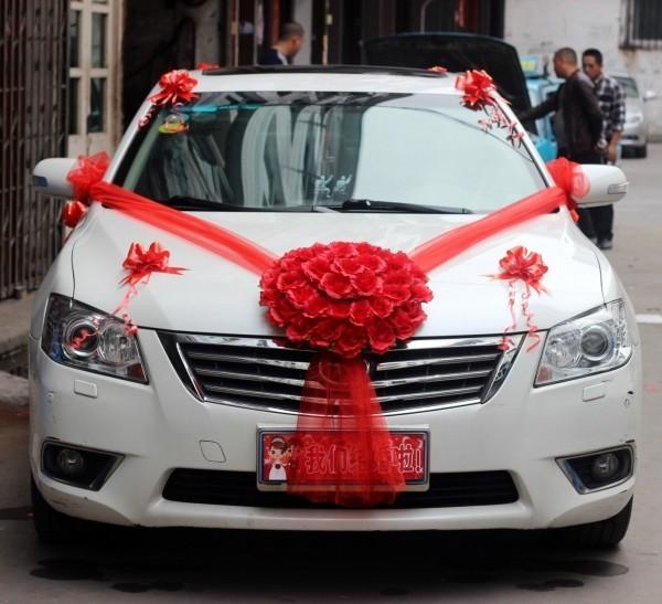 Autoschmuck Hochzeit - toller roter Band