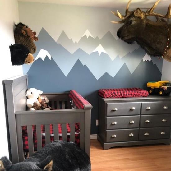 Babyzimmer Deko Ideen Wandtapete in Blau und Grau perfekter Hintergrund Tiere als Deko