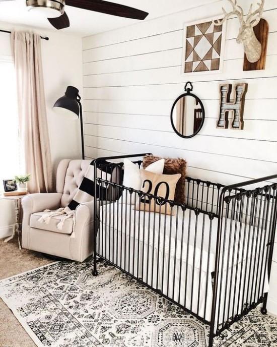 Babyzimmer Deko Ideen hell dunkel in Kontrast verschiedene Deko Elem
