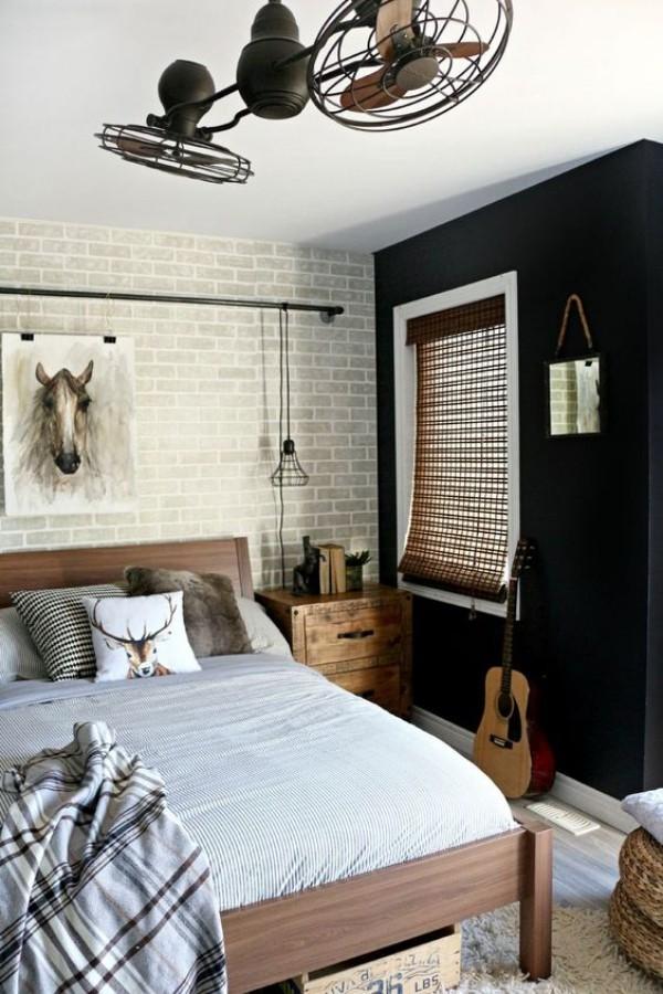 Backsteinwand im Schlafzimmer Grau im Kontrast zu Schwarz herrscht in der ganzen Raumgestaltung