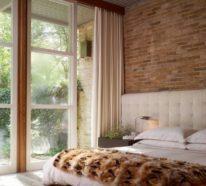 Backsteinwand im Schlafzimmer – beeindruckende Gestaltungsideen mit einen WOW-Effekt