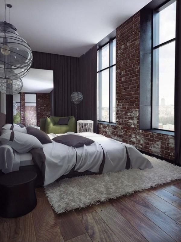Backsteinwand im Schlafzimmer moderne Gestaltung rotbraune Ziegelwand dunkelgrau und weiß in Kombination sehr gemütliches Ambiente