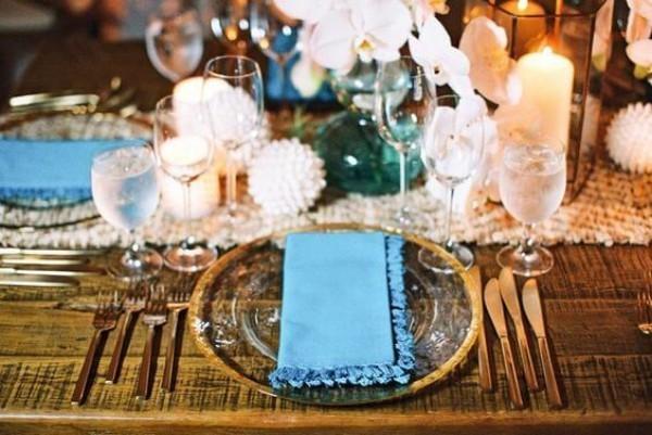 Blaue Serviette - tolle Hochzeitsdeko
