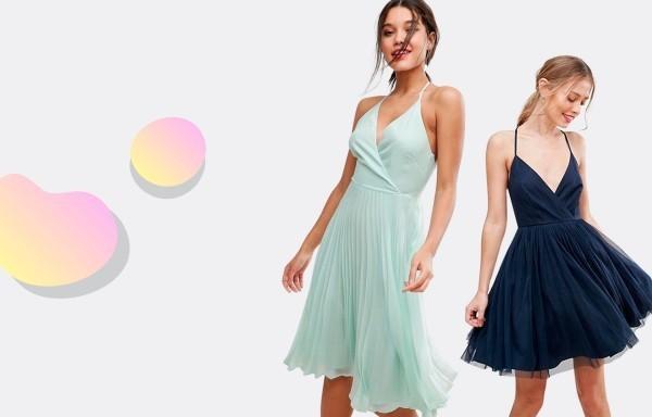 Damenkleider zwei nuancen blau