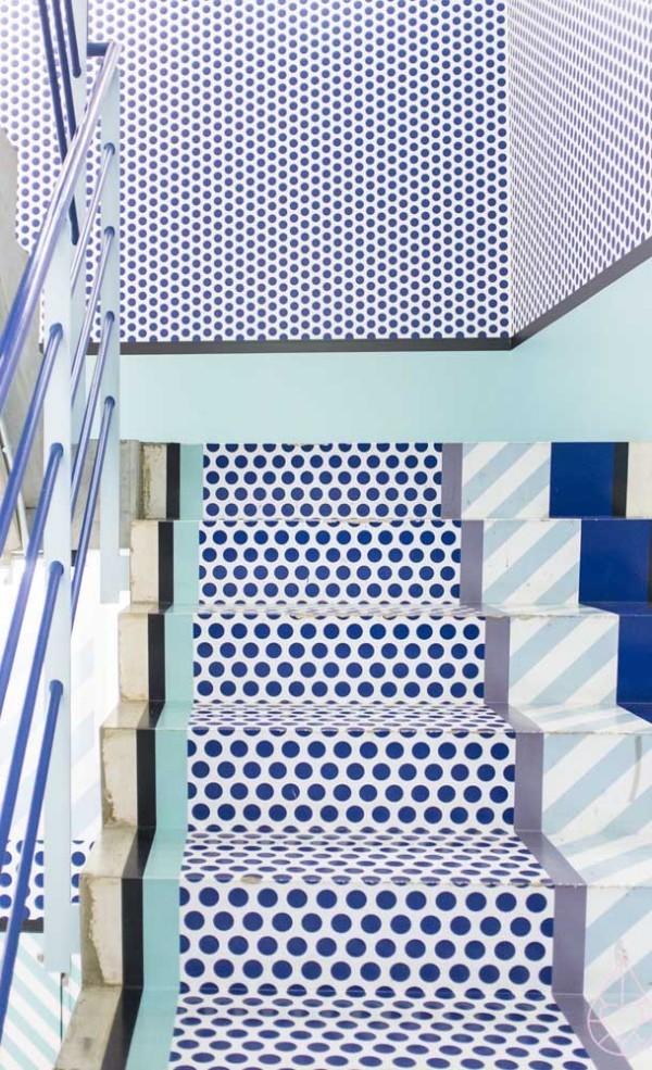 Design-Inspiration blau weiße Treppen