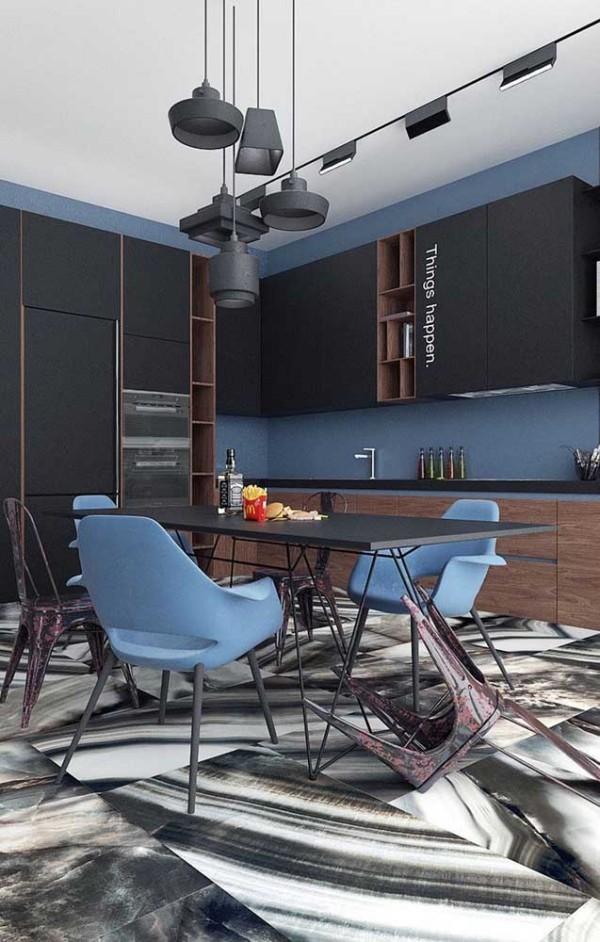Design-Inspiration - blaue Stühle und andere Ideen in der Küche