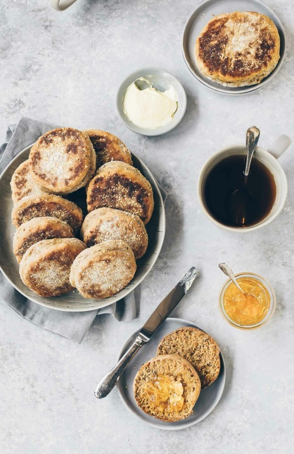 Englische Muffins selber backen Rezept Vollkornmehl