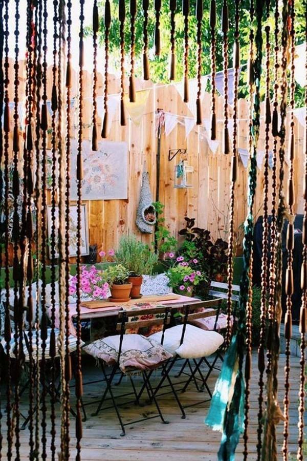 Gardinen mit langen Bändern - ein Traumhaus