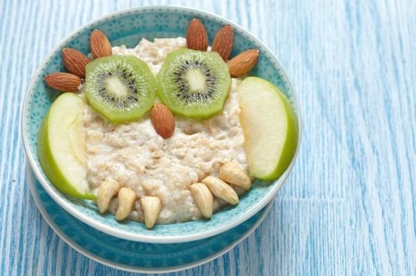 Gesunde Frühstücksideen für Kinder Haferflocken mit Obst Eule