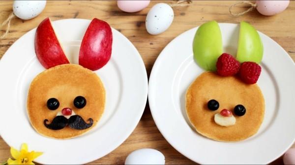 Gesunde Frühstücksideen für Kinder Pfannkuchen Hasen