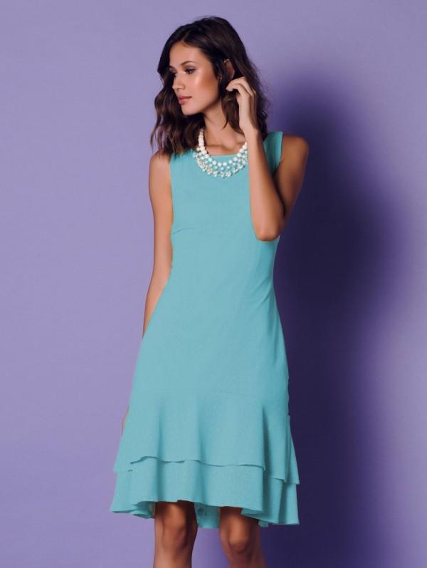 Knielang in blauer Farbe Damenkleider