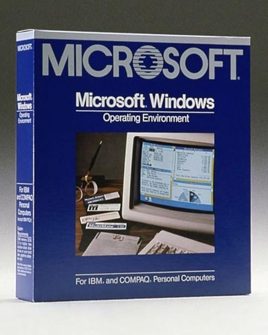 Nach fast 34 Jahren führt Microsoft Windows 1.0 angeblich wieder ein microsoft windows verpackung alt retro