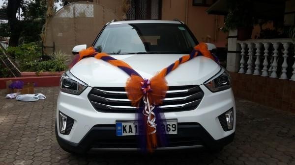 Orange und Blau Autoschmuck Hochzeit