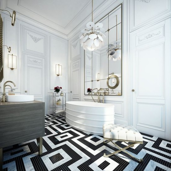 Pariser Chic im Bad in weiß und schwarz auffällige Muster Bodenfliesen großer Spiegel moderner Kronleuchter