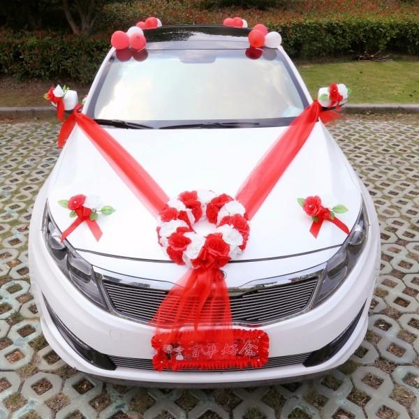 Rot weißer Kontrast Autoschmuck Hochzeit