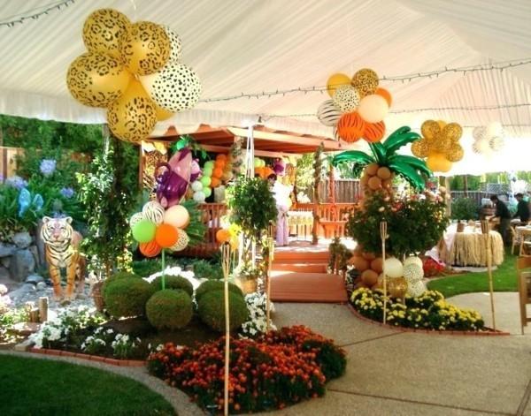 Sommerparty Deko Ideen Gartenparty Ballons Dschungel Party Thema