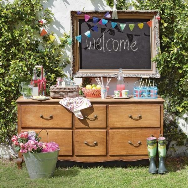 Sommerparty Deko Ideen Gartenparty Eingang Willkommen