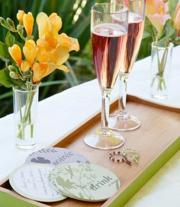 Sommerparty Deko Ideen Gartenparty Glasuntersetzer Einladung