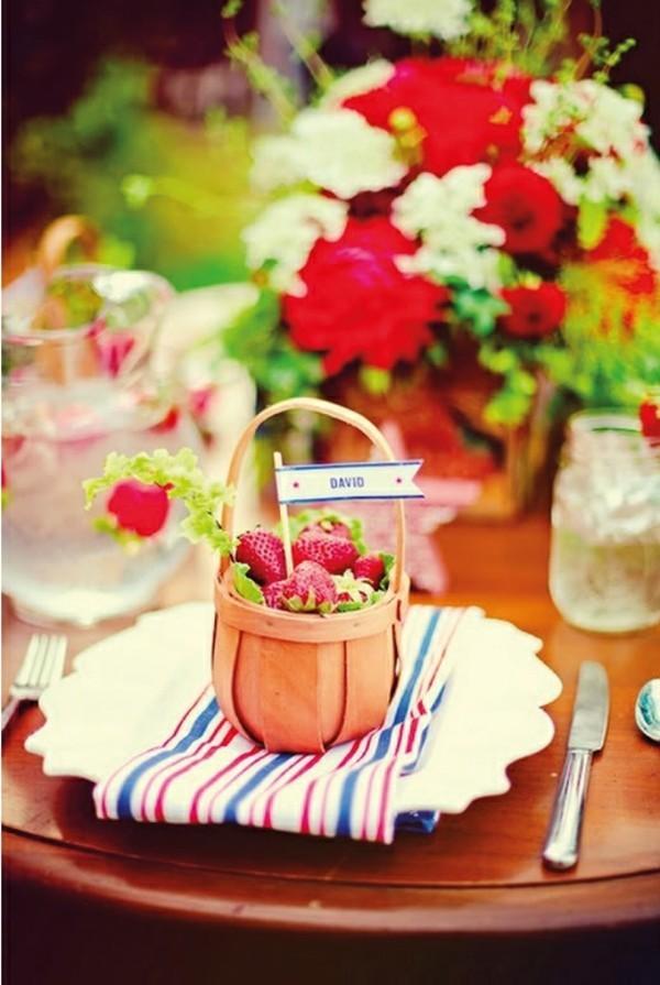 Sommerparty Deko Ideen Gartenparty Tisch Buffet Süßspeisen Erdberen