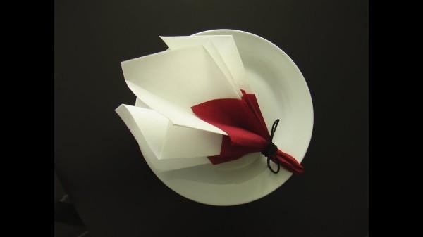 Tolle Serviette in weiß und rot Hochzeitsdeko