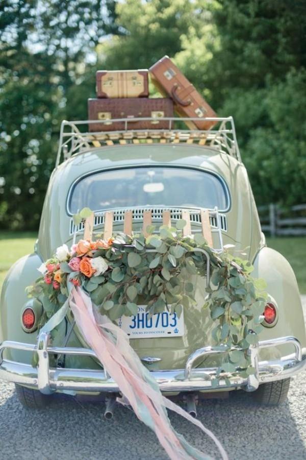 Vintage Idee für Autoschmuck Hochzeit