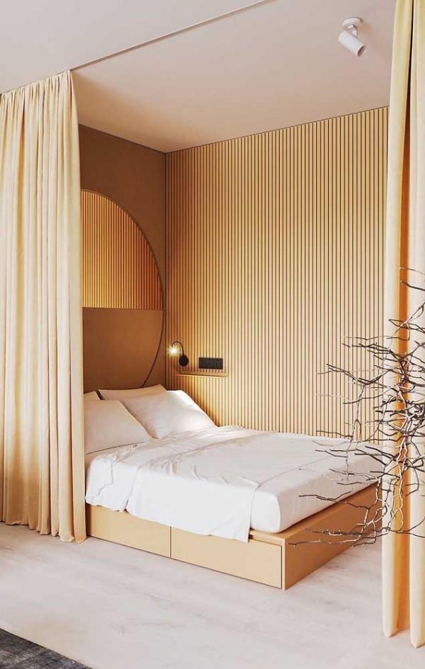 Vorhang ums Bett herum Elfenbein