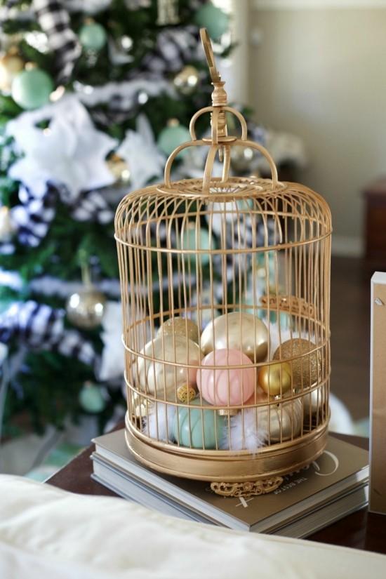 elegante weihnachtsdeko vogelkäfig deko
