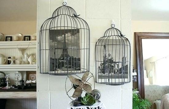 fotowand upcycling idee vogelkäfig deko