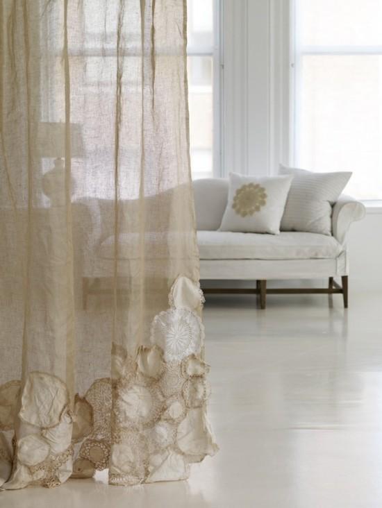 gardinen dekorieren mit spitzendeckchen
