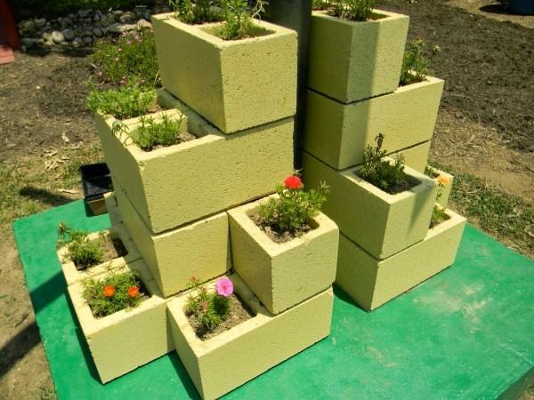 grüne betonblöcke beton deko