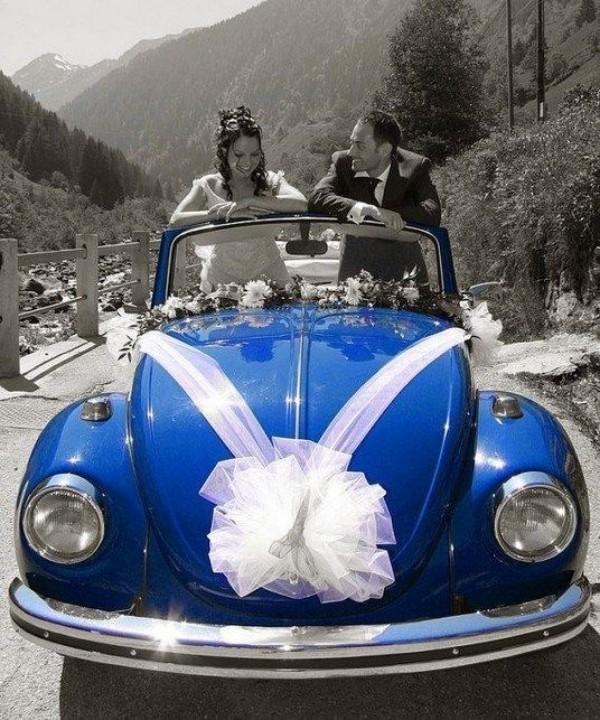 große weiße Schleife Autoschmuck Hochzeit