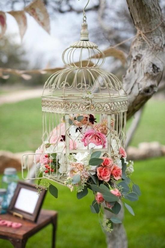 hochzeitsdekoration vogelkäfig deko mit rosen