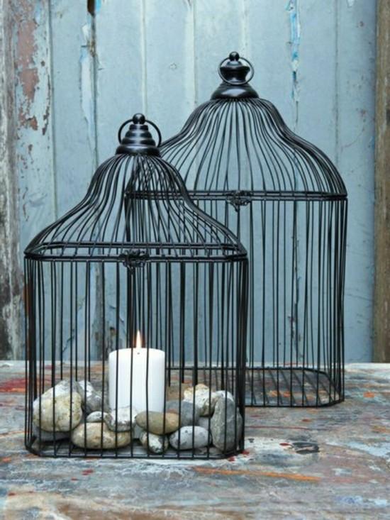 kerzen steine vogelkäfig deko vintage