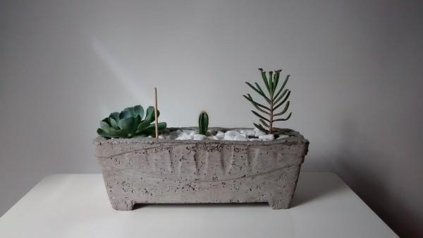 länglicher blumentopf beton deko
