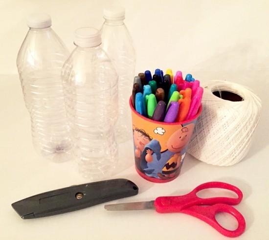 materialien für sonnenfänger basteln aus pet flaschen