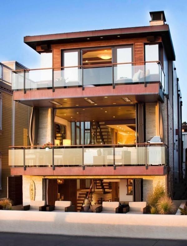 mehrere tolle Ideen für die Fassaden moderner Häuser