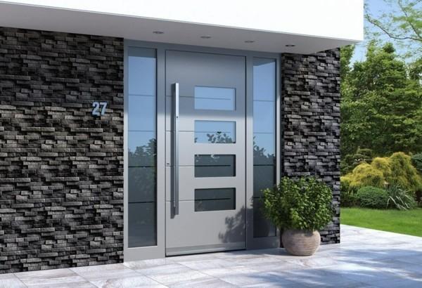moderne Eingangstür Außentür Haustür Alluminium
