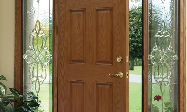 moderne Eingangstür Außentür Haustür Glasfasertür Holzoptik