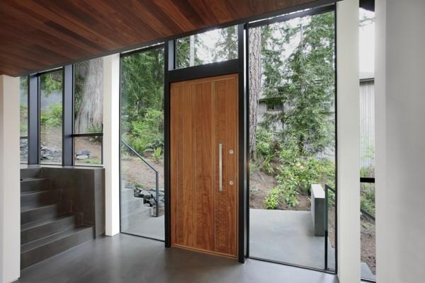 moderne Eingangstür Außentür Haustür Massivholztür Glas Fenster