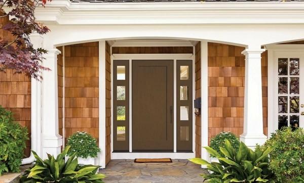 moderne Eingangstür Außentür Haustür Stahltür braun
