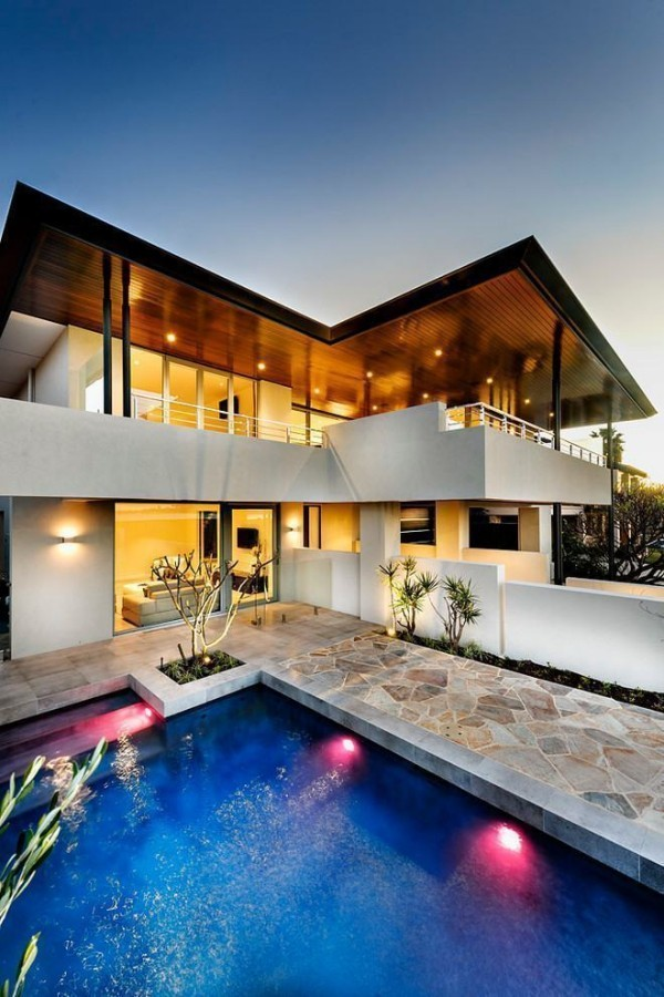 moderne Häuser - Eckhaus mit Schwimmbad