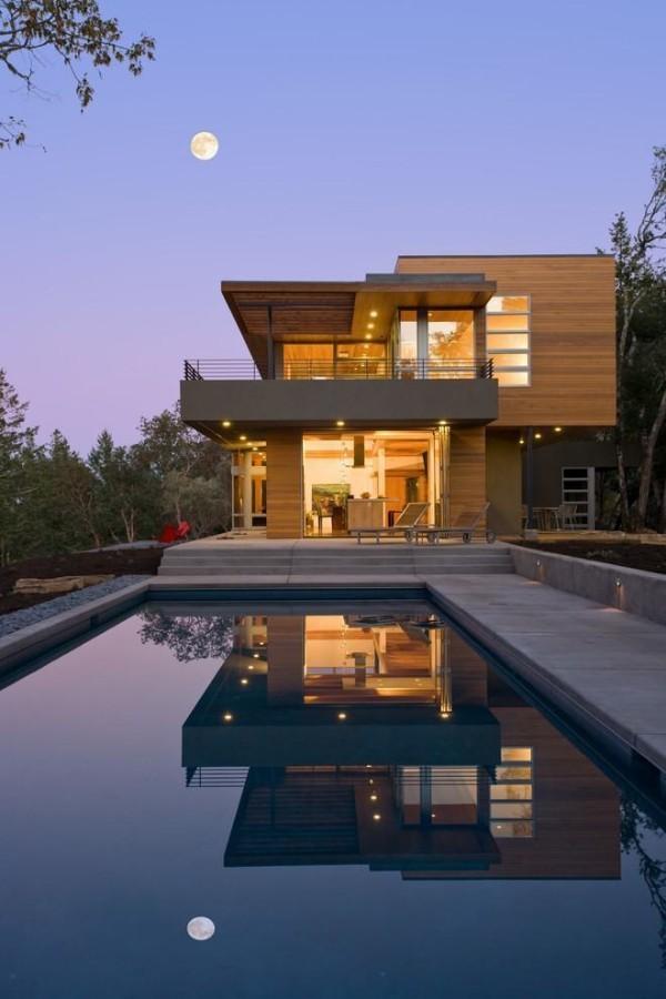 moderne Häuser Tolle Ansicht in der Nacht