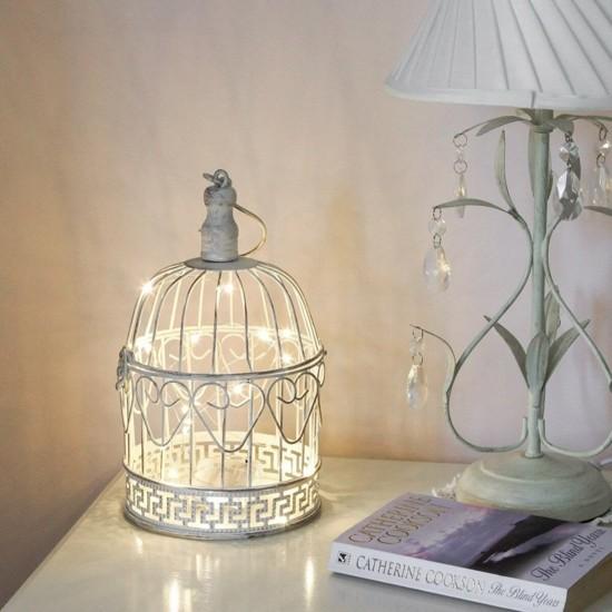 nachttischlampe vogelkäfig deko mit lichterkette