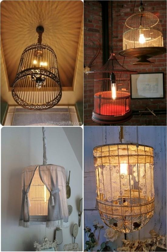 nostalgische lampen vogelkäfig deko