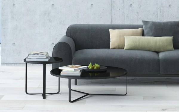 puristisch wohnen design sofa grau schwarze couchtische