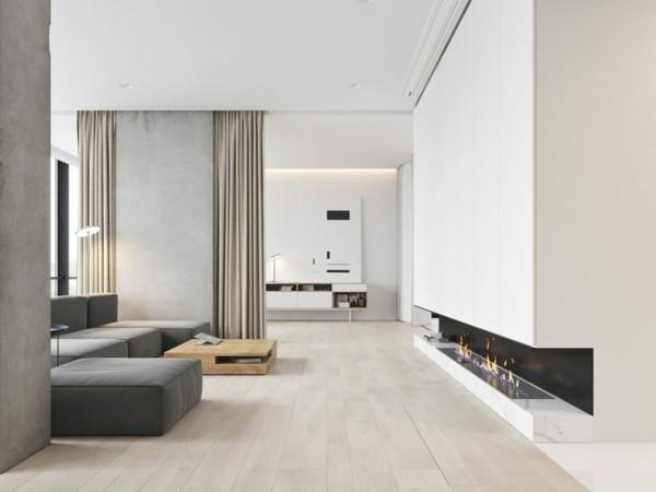 puristisch wohnen modernes wohnezimmer