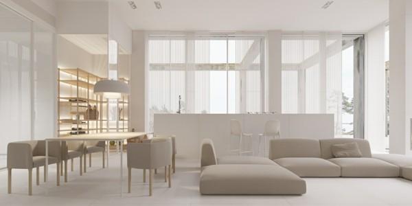 puristisch wohnen wohnzimmer in beige und weiß